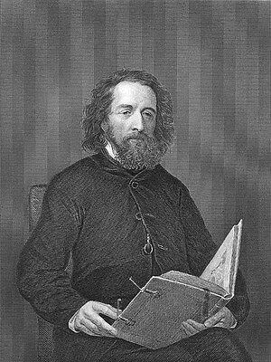 English Poet Laureate ALFRED LORD TENNYSON ~ Antique 1872 Art Print Engraving