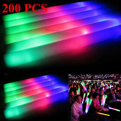 200 PCS Light Up Foam Sticks LED Wands Rally Rave Batons DJ Flashing Glow Stick
