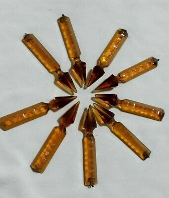 Old Lot 9 Bohemia Faceted Crystal Cut Amber Color Prisms Chandelier Spare Parts