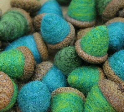 12 Needle Felted Acorns bowl Fillers Blue Green Mix Folk Art 100% MADE IN USA
