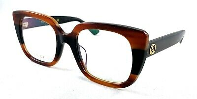 80177ab1eff GUCCI GG0180O GG 0180O 004 Brown Black Stripe Eyeglasses Eyewear Frame  50-22-140