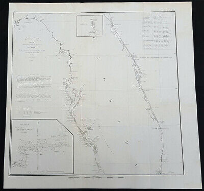 1856 US Coast Survey & Bache Large Rare Antique Map of Florida, St Johns River