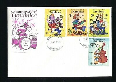 Disney Dominica 1979  3 FDC Scott #644-653  IYC  Music Piano Guitar Xylophone