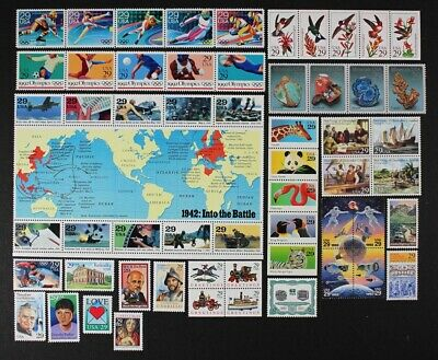 US 1992 Commemorative Year Set, 57 different stamps including WWII Sheet Mint NH