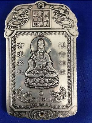 collectibles Old Chinese kuan-yin tibet Silver Bullion thanka amulet NA038