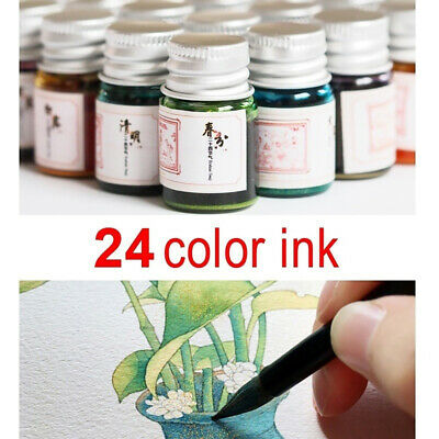 5ML 24 Colors Calligraphy Writing Painting Fountain Pen Ink with Glitter Powder