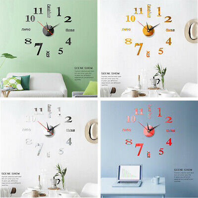 3D DIY Large Wall Clock Mirror Sticker Big Watch Home Office Decor Unique Gift