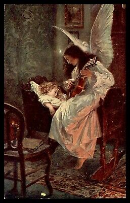 Schlummerlied Angel Singing And Playing The Guitar To Little Angel Postcard