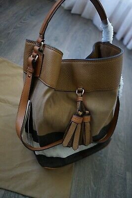 eb7c8ed35d60 Authentic Burberry Ashby Canvas Check and Leather Hobo Saddle Brown 3982937
