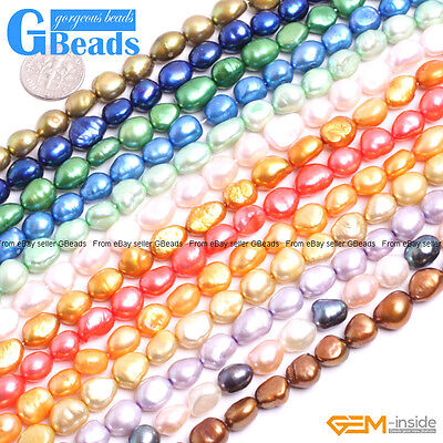 8-9mm Freeform Pearl Gemstone Nugget Beads For Jewelry Making Free Shipping 15""