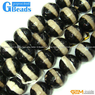 """10mm Stripe Tibet Fire Agate Gemstone Faceted Round Beads For Jewelry Making 12"""""""