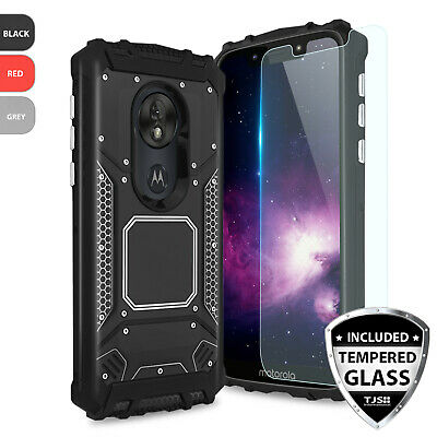 For Motorola Moto G7 Play Metal Magnetic Support Phone Case Cover+Tempered Glass