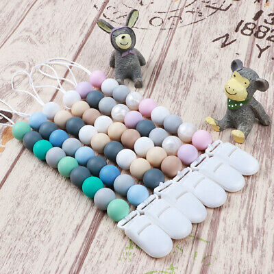 Silicone Beads Baby Teether Teething Toys Pacifier Chain Clip Bead Chew Dummy