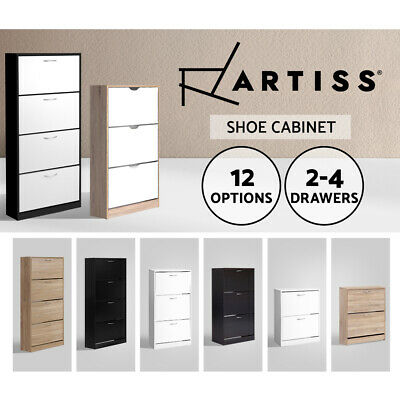 Artiss Shoe Cabinet Shoes Storage Rack Wooden Organiser Shelf Cupboard Drawer
