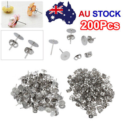 200 Earring Stud Post 4/6/8mm 100x Pads+100x Backs Hypoallergenic Surgical Steel