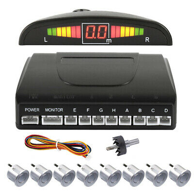 LED Display Front Rear Car Reverse Parking Sensor Radar Alarm Kit 8 Sensors UK