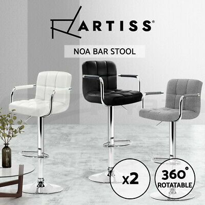 2x Artiss NOA Bar Stools Kitchen Swivel Bar Stool Gas Lift Chairs Black White GY