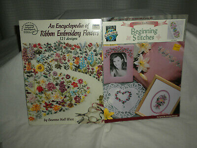 (2) Ribbon Embroidery Booklets: Encyclopedia of Ribbon Embroidery Flowers & Begi