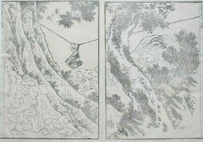 HOKUSAI MANGA - ROPE 'BRIDGE' -  An Original Woodblock Print (Woodcut)