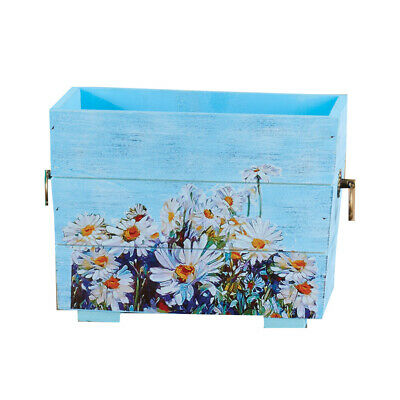 Wooden Floral Decor Hand-Painted Planters, by Collections Etc
