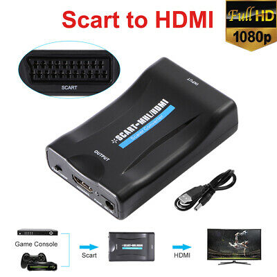 SCART to 1080P HDMI Audio Converter Scaler Box w/USB Cable HDTV HD Monitor AH198