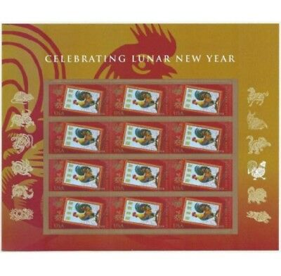 Year of the Rooster. Sheet of Forever USPS Postage Stamps. New, Sealed Package