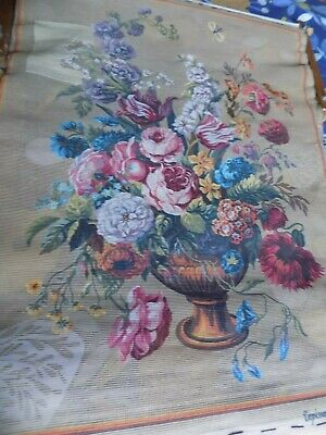 Stunning Vintage 'Royal Paris' Tapestry Huge Floral 36'' X 26'' Just Started