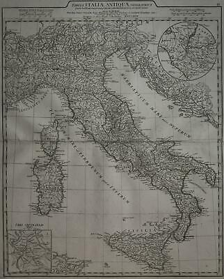 1784 Antique Map Ancient Italy Italia Elephant Folio 58575