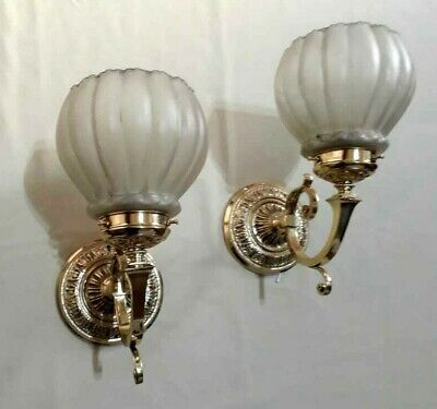 ANTIQUE CHISELLED BRONZE PAIR WALL SCONCES w/ FROSTED CRYSTAL GLASS SHADES WIRED