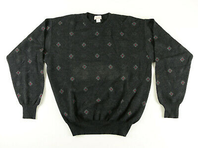 Mark Shale Charcoal Gray Mens Sweater With Red & Gray Diamond Pattern Size M Nr