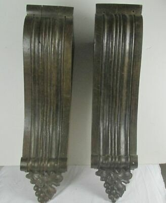 """Antique Pair (2) Corbels Ornate Carved Wood Gothic Architectural Salvage 21"""" lng"""