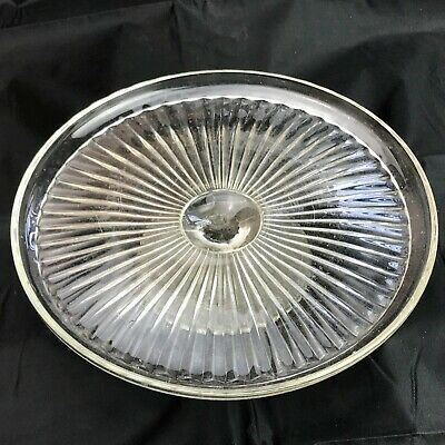 Vintage Art Deco Clear Glass Cake Serving Plate Stand Tea Party