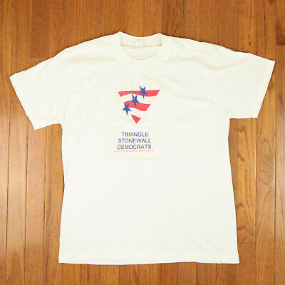 Triangle Stonewall Democrats Nc 1990S Gay Interest Political T-Shirt Size L Nr