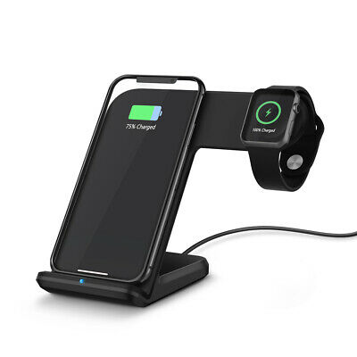 Qi Wireless Charger 2in1 Fast Charging Dock Stand For iPhone XS Max Apple iWatch