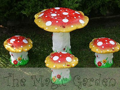 X-large mushroom table and stools cement garden ornament latex molds moulds