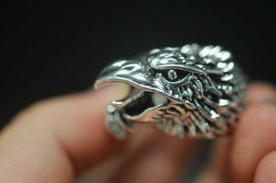Rare Asian Chinese Decorate Tibet Silver Carve Eagle Head Culture Ring