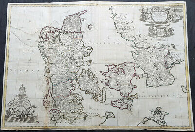 1720 John Senex Large Antique Map of Denmark & Southern Sweden