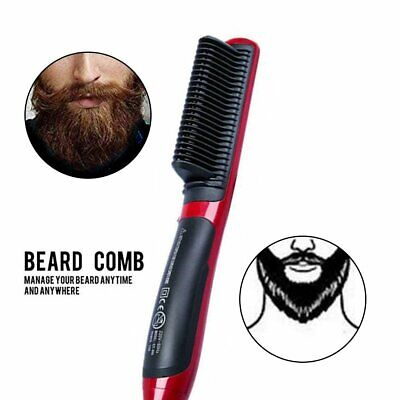 Men's Quick Heated Beard Straightener Brush Hair Comb Curling Show Cap @2