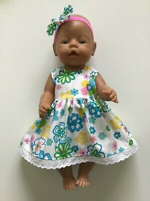 """DOLLS CLOTHES FOR 17"""" BABY BORN~CABBAGE PATCH *Glittery Flowers~Dress~Headband*"""