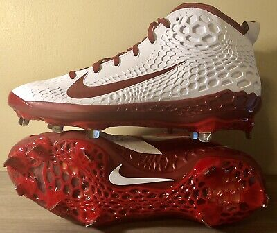 lowest price 29e0a a72fd Nike Zoom Trout 5 Metal Baseball Cleats White Maroon Size 13 AH3373-161