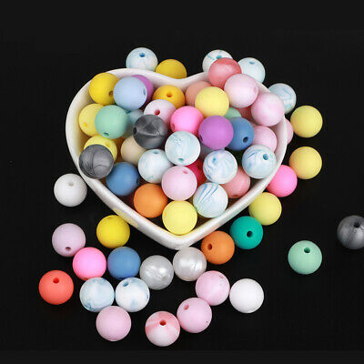 10X Silicone Beads Baby Teether Teething Toys Chew Bead Necklace Pacifier Chain
