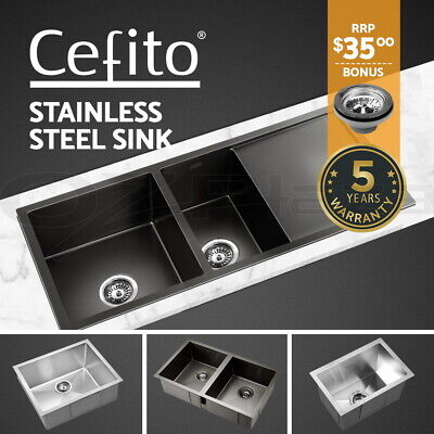 Cefito Kitchen Sink Laundry Stainless Steel Under/Topmount Single Double Bowl