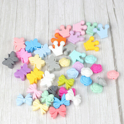 20X Silicone Beads Baby Teether Teething Toy Chew Bead Necklace Pacifier Chain