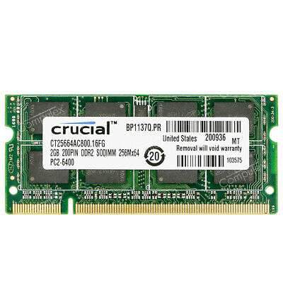 Crucial 2GB 4GB PC2-6400S DDR2-800MHz 200pin 1.8V CL6 Sodimm Laptop Notebook RAM