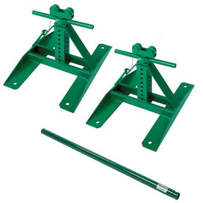 """Greenlee 687 Screw-Type Reel Stands 13"""" - 28"""" (2 Stands) and 647 Spindle"""
