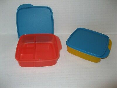 """TUPPERWARE 2 LUNCH-IT CONTAINERS divided lunch snack box 6"""" square ORANGE ~ NEW"""