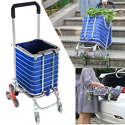 a9dfe77efd16 UPGRADED FOLDING SHOPPING Cart Aluminum Grocery Laundry Basket Trolley+Bag  4type