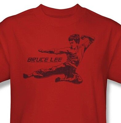 Bruce Lee T-shirt Flying Kick Free Shipping retro Enter Dragon cotton tee BLE157