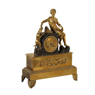 Table Clock with Plant Ornaments Gilded Bronze Mid 19th Century