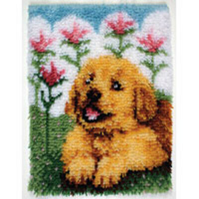 "Flower Pup Latch Hook Kit 15x20"" By Caron Wonderart. No Tool Included."